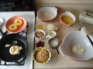 Ingredients Ready to Go for my Pina Colada Pineapple Upside Down Cornmeal Cake