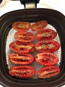 Plum Tomatoes - Prepped and Ready to Make Their Way To The Air Fryer